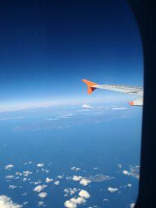 翼の向こうに富士山、その手前が伊豆半島
